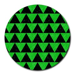 Triangle2 Black Marble & Green Colored Pencil Round Mousepads