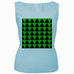 Triangle2 Black Marble & Green Colored Pencil Women s Baby Blue Tank Top