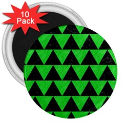 Triangle2 Black Marble & Green Colored Pencil 3  Magnets (10 Pack)