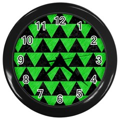 Triangle2 Black Marble & Green Colored Pencil Wall Clocks (black)