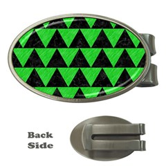 Triangle2 Black Marble & Green Colored Pencil Money Clips (oval)