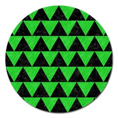 Triangle2 Black Marble & Green Colored Pencil Magnet 5  (round)