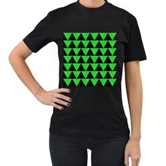 Triangle2 Black Marble & Green Colored Pencil Women s T Shirt (black) (two Sided)