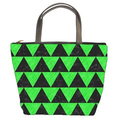 Triangle2 Black Marble & Green Colored Pencil Bucket Bags