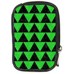 Triangle2 Black Marble & Green Colored Pencil Compact Camera Cases