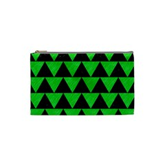 Triangle2 Black Marble & Green Colored Pencil Cosmetic Bag (small)