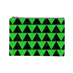 Triangle2 Black Marble & Green Colored Pencil Cosmetic Bag (large)