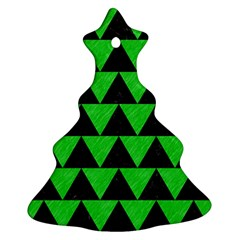 Triangle2 Black Marble & Green Colored Pencil Ornament (christmas Tree)
