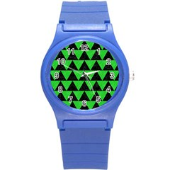 Triangle2 Black Marble & Green Colored Pencil Round Plastic Sport Watch (s)