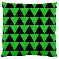Triangle2 Black Marble & Green Colored Pencil Large Cushion Case (one Side)