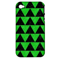 Triangle2 Black Marble & Green Colored Pencil Apple Iphone 4/4s Hardshell Case (pc+silicone)