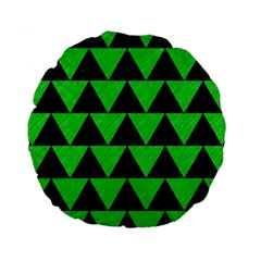 Triangle2 Black Marble & Green Colored Pencil Standard 15  Premium Round Cushions