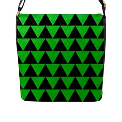 Triangle2 Black Marble & Green Colored Pencil Flap Messenger Bag (l)