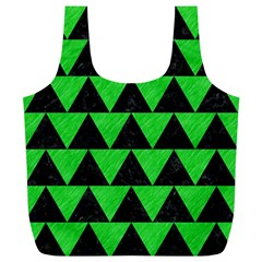 Triangle2 Black Marble & Green Colored Pencil Full Print Recycle Bags (l)