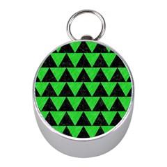 Triangle2 Black Marble & Green Colored Pencil Mini Silver Compasses