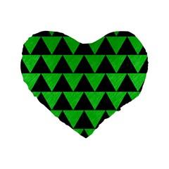 Triangle2 Black Marble & Green Colored Pencil Standard 16  Premium Flano Heart Shape Cushions