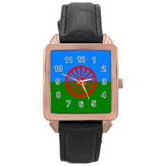 Gypsy Flag Rose Gold Leather Watch