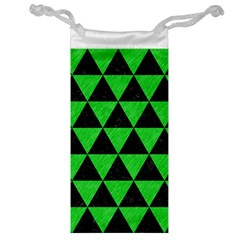 Triangle3 Black Marble & Green Colored Pencil Jewelry Bag