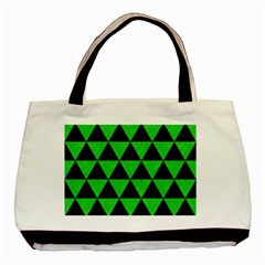 Triangle3 Black Marble & Green Colored Pencil Basic Tote Bag