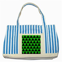 Triangle3 Black Marble & Green Colored Pencil Striped Blue Tote Bag