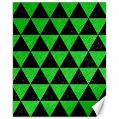 Triangle3 Black Marble & Green Colored Pencil Canvas 11  X 14