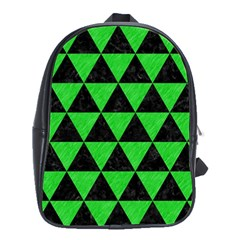 Triangle3 Black Marble & Green Colored Pencil School Bag (large)