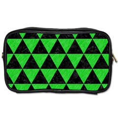 Triangle3 Black Marble & Green Colored Pencil Toiletries Bags