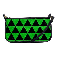 Triangle3 Black Marble & Green Colored Pencil Shoulder Clutch Bags
