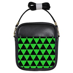 Triangle3 Black Marble & Green Colored Pencil Girls Sling Bags