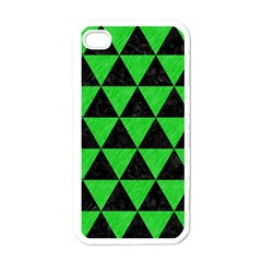 Triangle3 Black Marble & Green Colored Pencil Apple Iphone 4 Case (white)