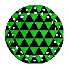 Triangle3 Black Marble & Green Colored Pencil Round Filigree Ornament (two Sides)