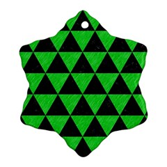 Triangle3 Black Marble & Green Colored Pencil Snowflake Ornament (two Sides)