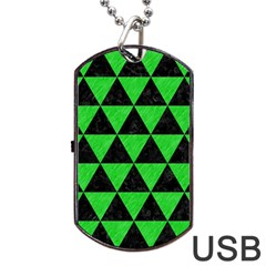Triangle3 Black Marble & Green Colored Pencil Dog Tag Usb Flash (two Sides)