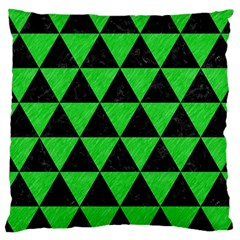 Triangle3 Black Marble & Green Colored Pencil Large Cushion Case (two Sides)