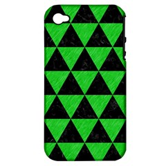Triangle3 Black Marble & Green Colored Pencil Apple Iphone 4/4s Hardshell Case (pc+silicone)