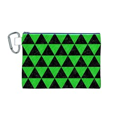 Triangle3 Black Marble & Green Colored Pencil Canvas Cosmetic Bag (m)