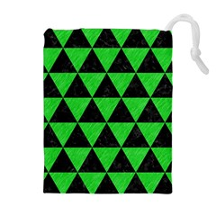 Triangle3 Black Marble & Green Colored Pencil Drawstring Pouches (extra Large)