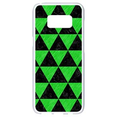 Triangle3 Black Marble & Green Colored Pencil Samsung Galaxy S8 White Seamless Case