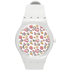 Sweet Pattern Round Plastic Sport Watch (m)