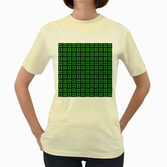 Woven1 Black Marble & Green Colored Pencil Women s Yellow T Shirt