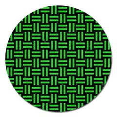 Woven1 Black Marble & Green Colored Pencil Magnet 5  (round)