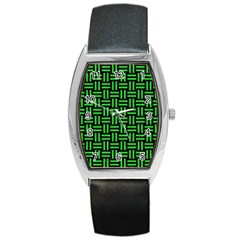 Woven1 Black Marble & Green Colored Pencil Barrel Style Metal Watch