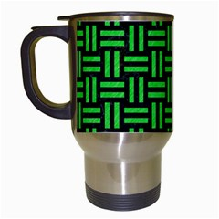 Woven1 Black Marble & Green Colored Pencil Travel Mugs (white)