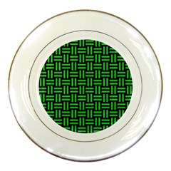Woven1 Black Marble & Green Colored Pencil Porcelain Plates