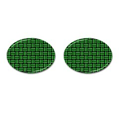 Woven1 Black Marble & Green Colored Pencil Cufflinks (oval)