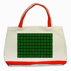 Woven1 Black Marble & Green Colored Pencil Classic Tote Bag (red)