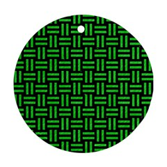 Woven1 Black Marble & Green Colored Pencil Round Ornament (two Sides)