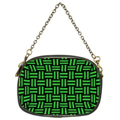 Woven1 Black Marble & Green Colored Pencil Chain Purses (two Sides)