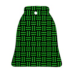 Woven1 Black Marble & Green Colored Pencil Ornament (bell)