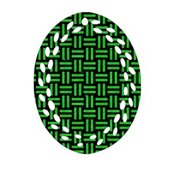 Woven1 Black Marble & Green Colored Pencil Ornament (oval Filigree)
